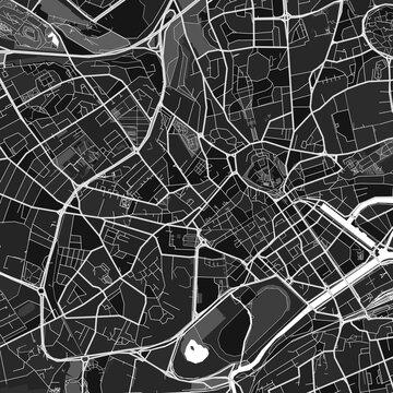 Caen, France dark vector art map