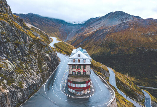 Belvedere Hotel on the Furkapass, Switzerland - September 2020
