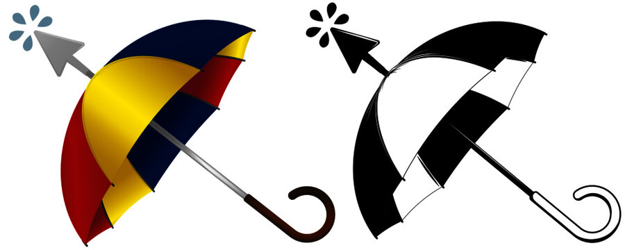 Logo-Clicking umbrella, in color and black and white
