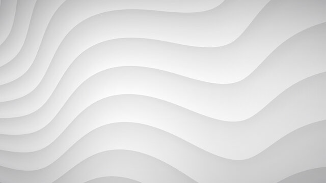 Abstract background of wavy curved stripes with shadows in white and gray colors