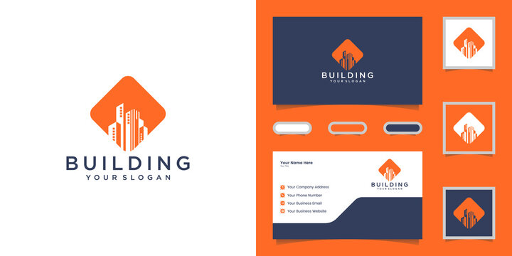 Abstract modern building logo design template and business card