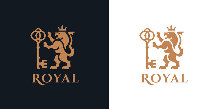 Heraldry Lion logo. Royal gold animal crest symbol with key and crown icon. Premium corporate brand identity template. Heraldic beast king sign. Vector illustration.