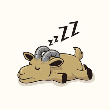 Lazy Goat Sleep Cartoon Animals