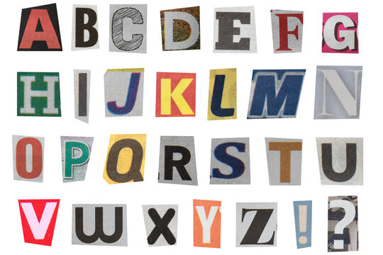 full alphabet of uppercase letters cut out from newspapers