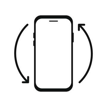 Rotate smartphone or cellular phone. Turn your device. Device rotation symbol. Vector illustration.