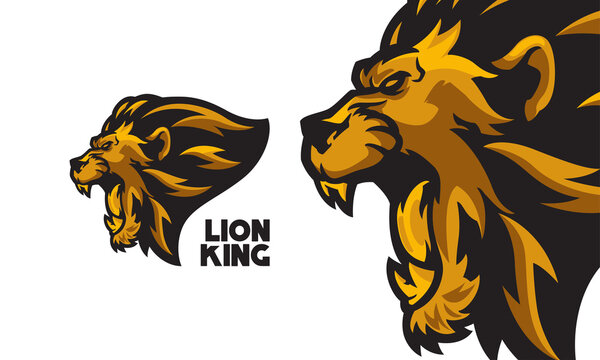 angry golden lion head mascot logo vector illustration