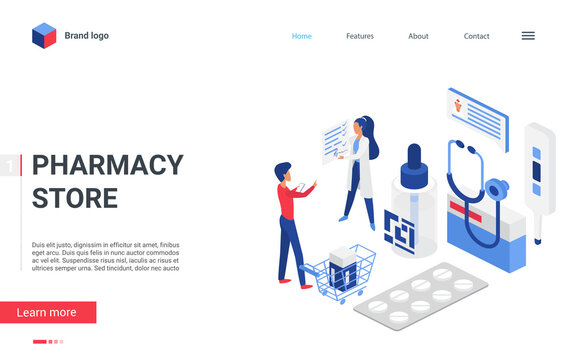 Isometric pharmacy store concept vector illustration. Cartoon landing page mobile pharma website design, man character choosing drugs in shop drugstore, talking to virtual pharmacist with pills list