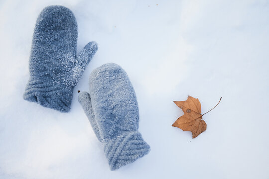the lost mitten lying on the snow
