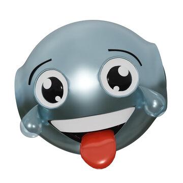 Roboter Emoticon mit tränen lachendem Gesicht