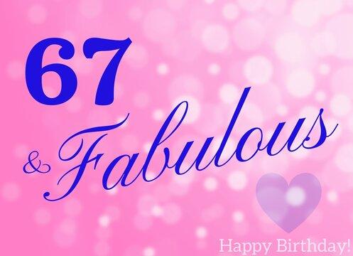 67th birthday card wishes illustration