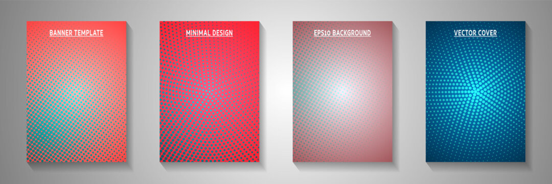 Simple point faded screen tone cover templates vector set. Scientific journal perforated screen