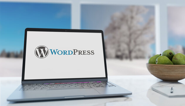 Guilherand-Granges, France - January 21, 2021. Notebook with WordPress logo. Free and open-source content management system (CMS).