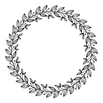 Hand-drawn Floral wreath on white background-Vector Illustration