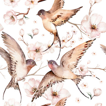 Watercolor spring flying swallows isolated and blossom flowers seamless pattern fabric background