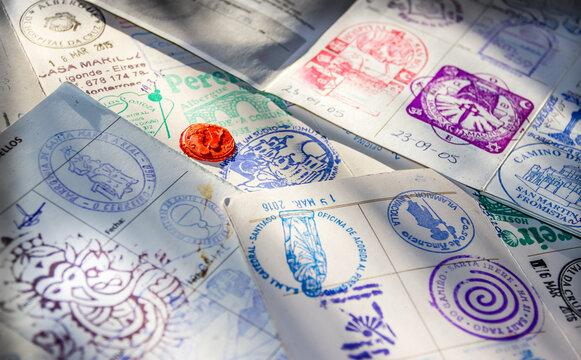 Albergue Hostel Stamps in Pilgrim Passport Credencial on Camino de Santiago St James Way Pilgrimage Trail