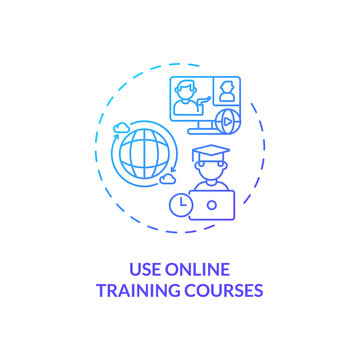 Using online training courses concept icon. Staff reboarding tip idea thin line illustration. Self-directed training. Self-discipline and responsibility. Vector isolated outline RGB color drawing