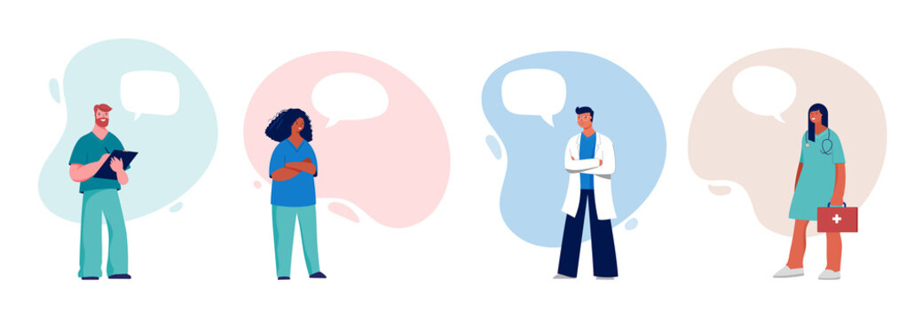 Doctors and nurses with speech bubbles, concept design - group of medical professionals on a white background