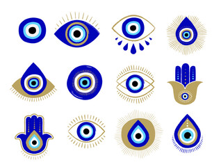 Obraz Evil eye or Turkish eye symbols and icons set. Modern amulet design and home decor idea - fototapety do salonu