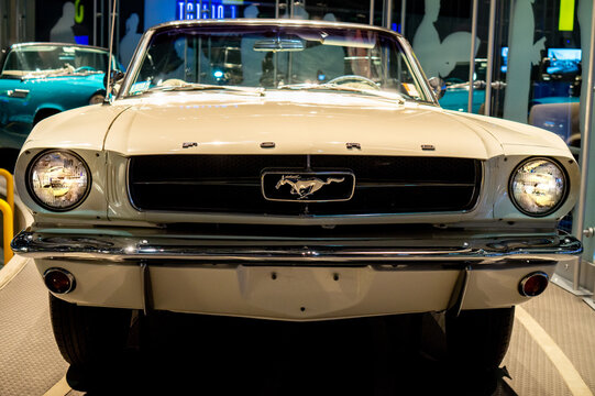 Dearborn, MI / USA - 04.21.2018 : white Ford Mustang Fast back 1965 at the Henry Ford Museum