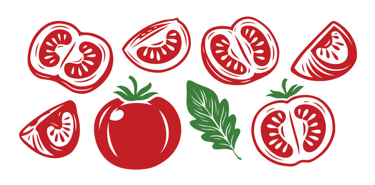 Tomato symbol set. Food, sliced piece vegetables. Farm market product