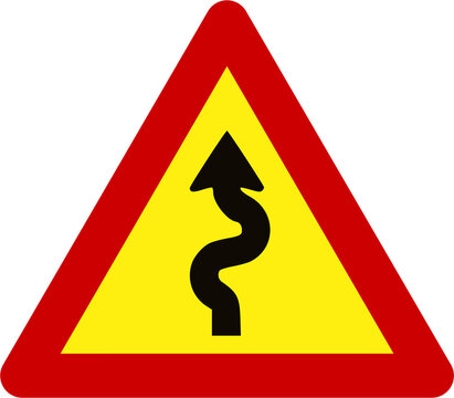 Warning sign with winding road