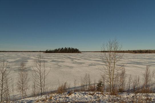 Astotin Lake Frozen in Winter