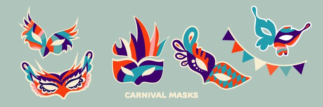Set of carnival masks in flat style. Vector illustration.