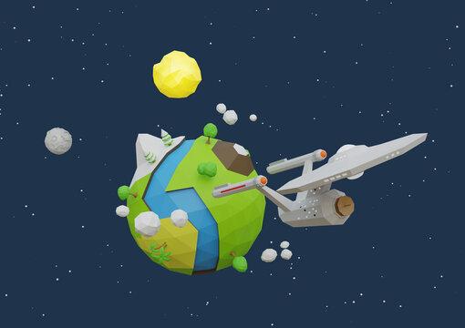 spaceship sci-fi low poly space earth sun moon stars