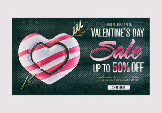 Social Media Sale Banner Design Layout with 3D Heart for Valentine'S Day