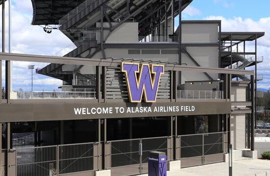 Seattle, WA, USA - April 13, 2017: The Alaska Airlines Field at Husky Stadium in Seattle. Husky Stadium is the home stadium of the University of Washington Huskies NCAA football team.