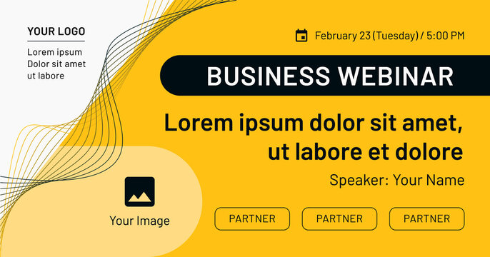 Business webinar, banner with image, contact data, partners frames on yellow background. Black and yellow vector template for webinar, conference, e-mail, flyer, meetup, party, event, web header