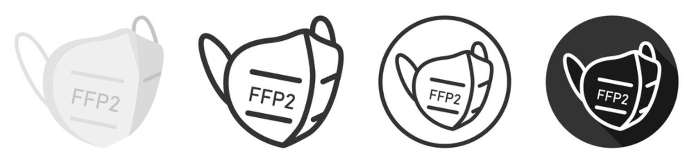 FFP2 face mask icon symbol logo set collection vector