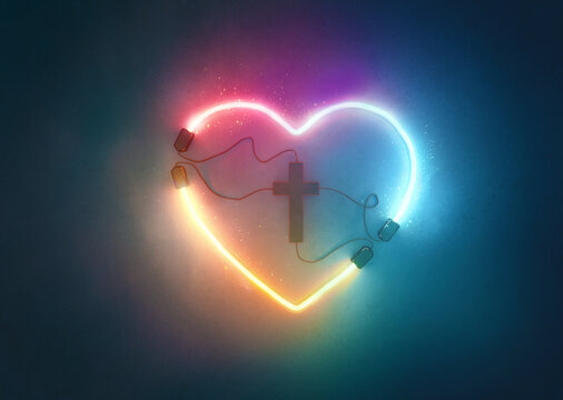 Glowing Heart with Cross