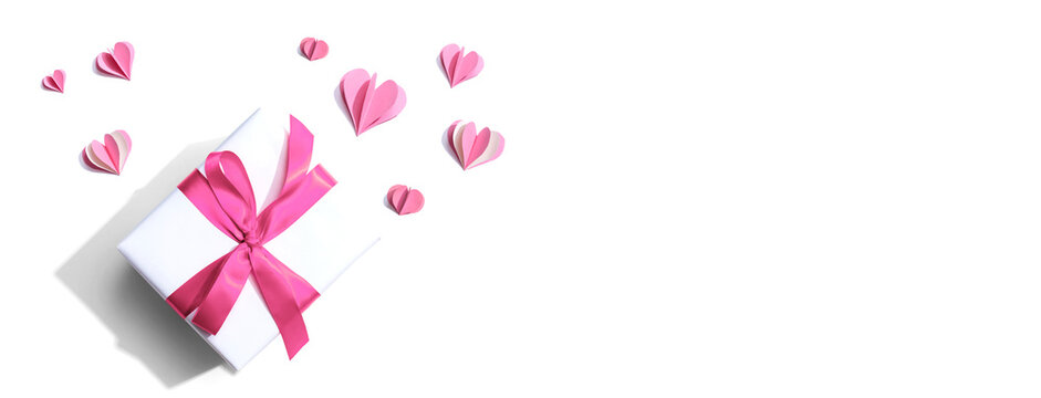 Valentines day or Appreciation theme with a gift box and paper craft hearts