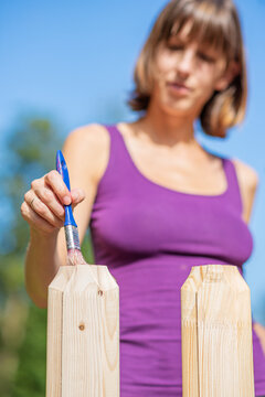 Painting wooden backyard fence with a transparent protective varnish