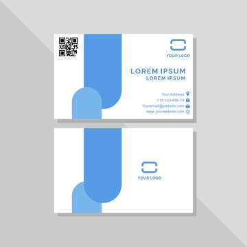 Creative double side business card blue elegant cleant and minimalist design with free icon info