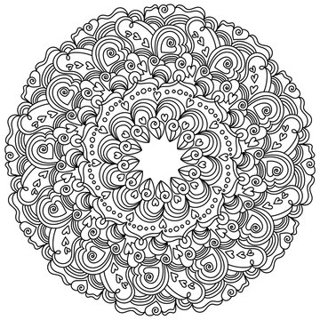Mandala with hearts and zen swirls, anti stress coloring page for Valentine's day