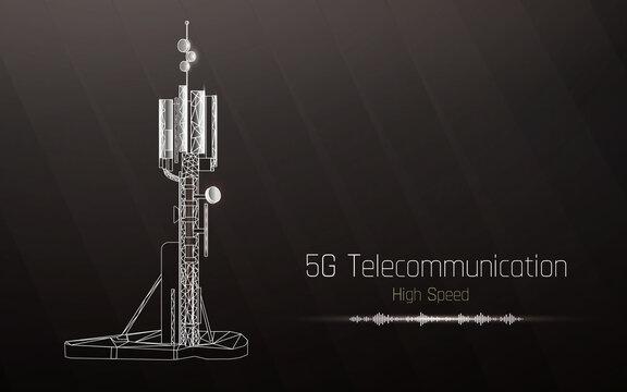 3d base station receiver. telecommunication tower 5g polygonal design global connection information transmitter. Mobile radio antenna cellular vector illustration, plexus,high speed,sound wave.dots