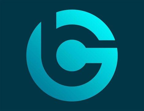 modern gradient initial letter GB/BG logo