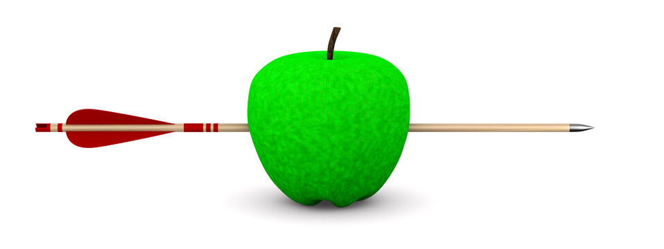 Green apple and arrow on white background. Isolated 3D illustration