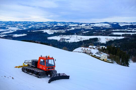 pistenbulli snowcat in a ski resort in austria