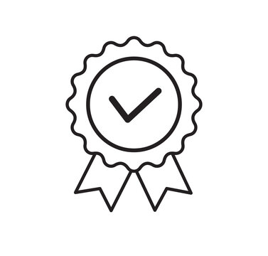 Quality certificate icon isolated on white background. Rosette icon Flat style. Vector illustration