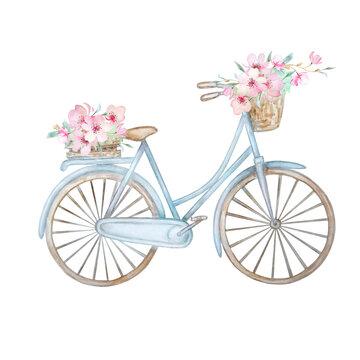 Hand drawn watercolor illustration - romantic blue bike