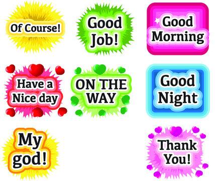 vector cartoon greeting card emoji set