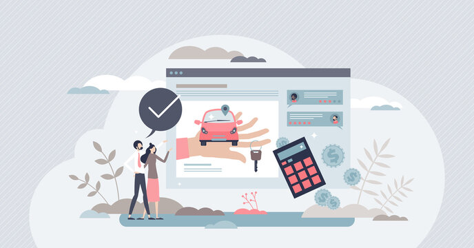 Buying car online and purchase from dealership website tiny person concept