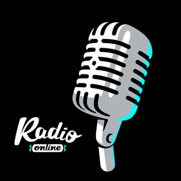 Retro radio microphone on white background logo. Mic silhouette sign. Music, voice, record icon. Recording studio symbol. Flat stye vector illustration
