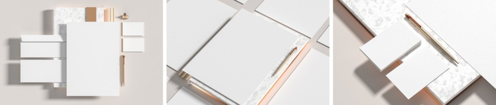 Corporate identity stationery mock up isolated on white marbel background. Mock up for branding identity. 3D illustration