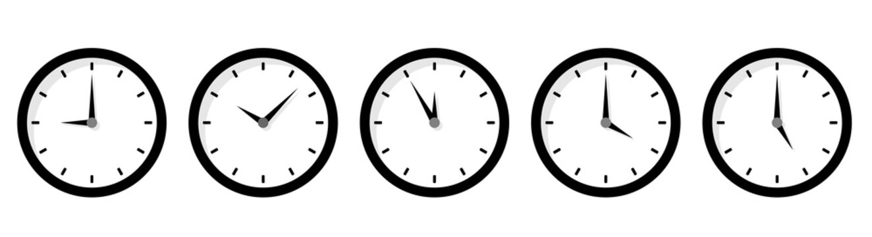 時計アイコンの時間バリエーションセット