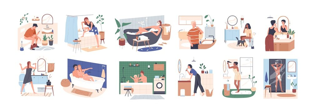 Scenes of daily hygiene routine in bathroom. People bathing, shaving, brushing teeth and sitting on toilet seat. Personal morning care. Colored flat vector illustration isolated on white background