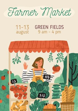 Template design of invitation banner with place for text. Promo poster of organic and eco-friendly farmer market event for vegetarians. Flat textured vertical vector illustration of vegetable shop
